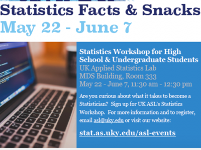 Flyer for Statistics Facts and Snack 2017 summer workshop
