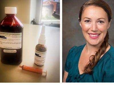 Image on left is bottle and nasal spray of iodine preparation. Image on left is a headshot of Dr. Alex Kejner.