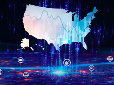 Graphic of US map overlaid with informatics graphics.