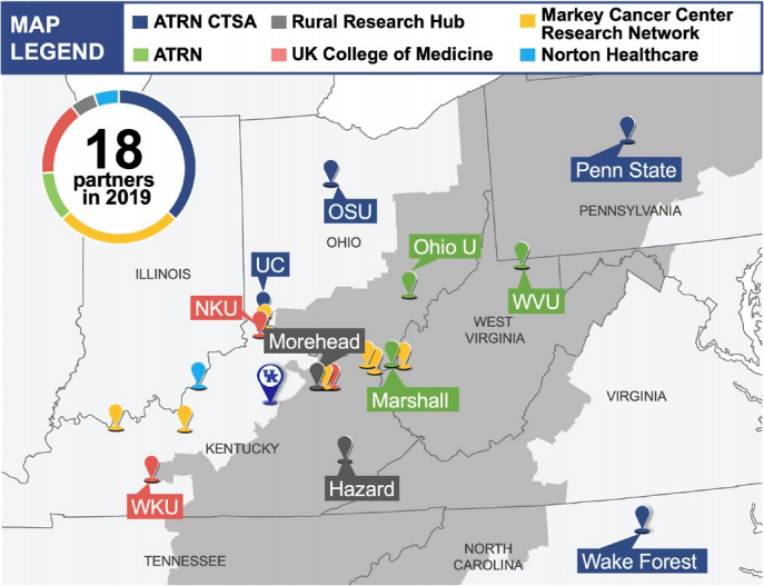 Map of CCTS Partners in Appalachia