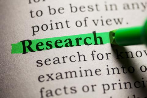 The word research highlighted in green.