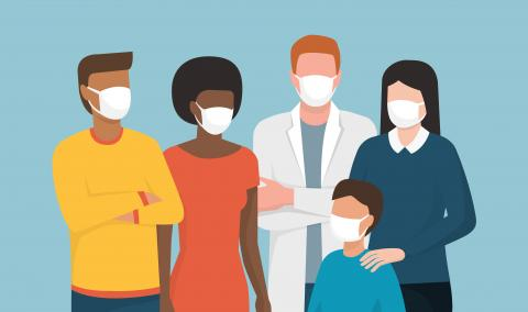 Illustration of diverse group of people wearing face masks.