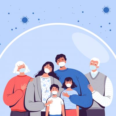 COVID prevention illustration of three generations of family wearing masks and shielded from virus particles.